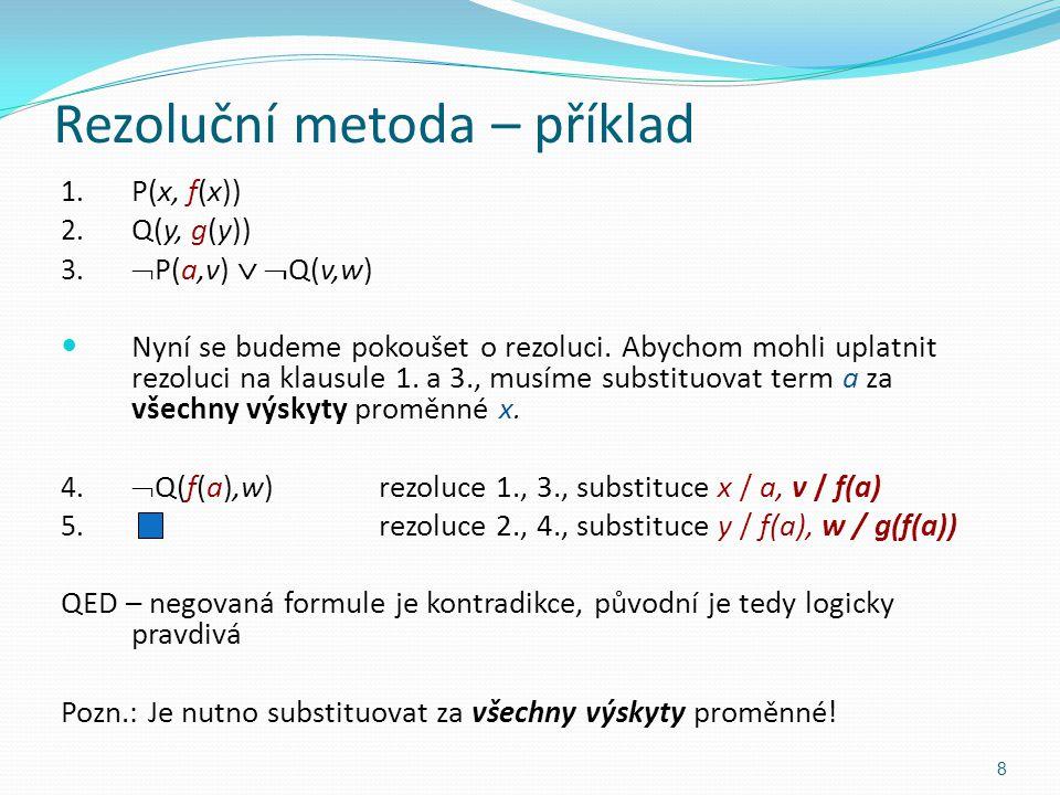 1. P(x, f(x)) 2. Q(y, g(y)) 3.  P(a,v)   Q(v,w) Nyní se budeme pokoušet o rezoluci. Abychom mohli uplatnit rezoluci na klausule 1. a 3., musíme sub