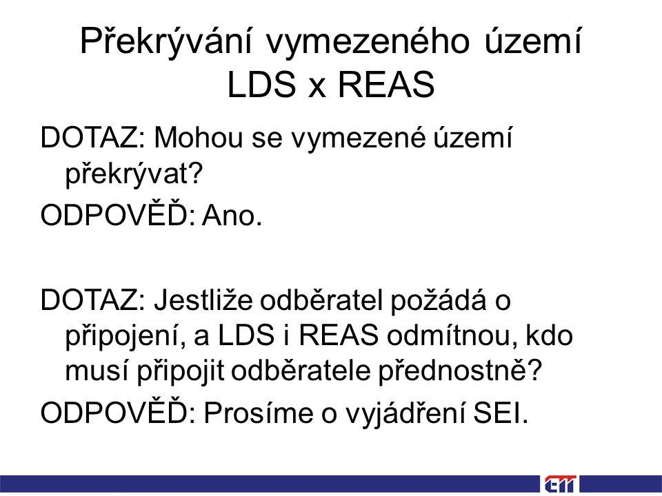 Překrývání vymezeného území LDS x REAS DOTAZ: Mohou se vymezené území překrývat.