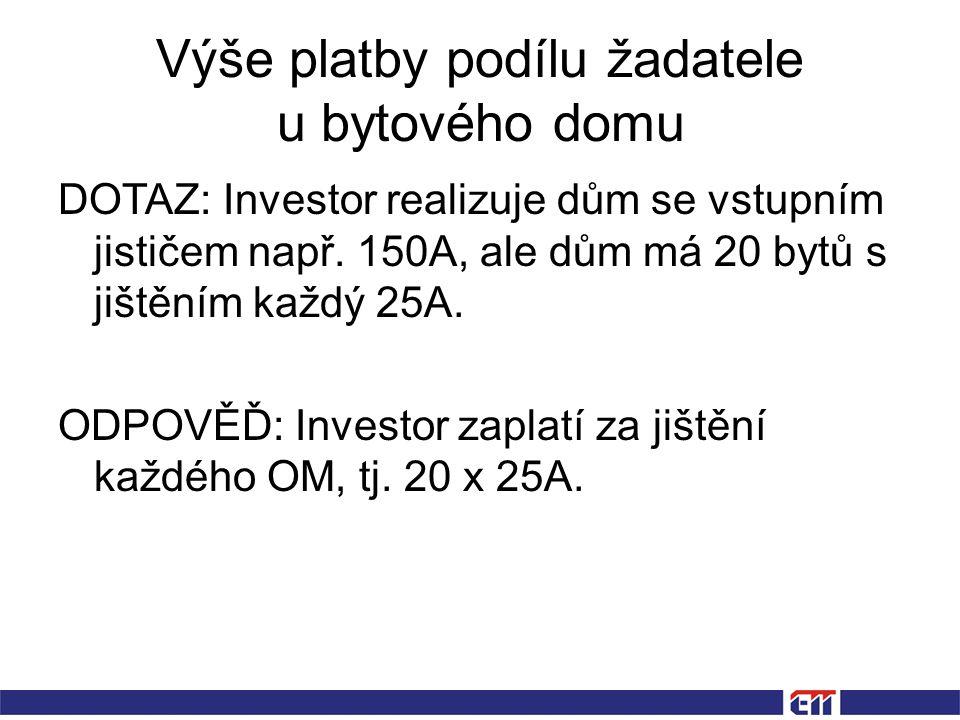 Výše platby podílu žadatele u bytového domu DOTAZ: Investor realizuje dům se vstupním jističem např.