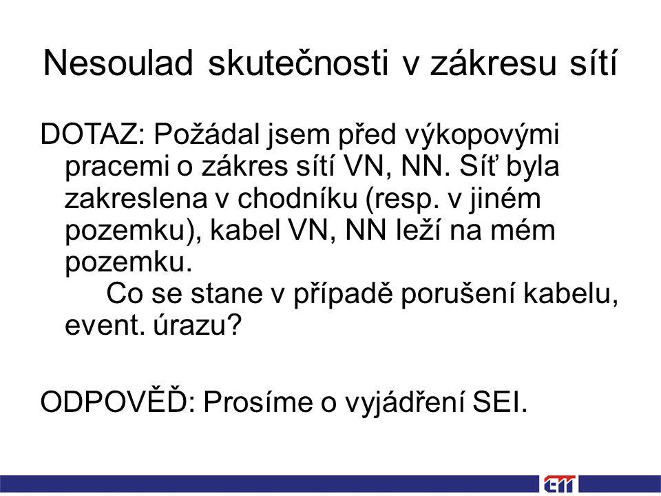 Nesoulad skutečnosti v zákresu sítí DOTAZ: Požádal jsem před výkopovými pracemi o zákres sítí VN, NN.
