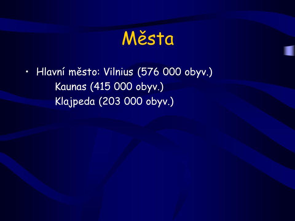 Města Hlavní město: Vilnius (576 000 obyv.) Kaunas (415 000 obyv.) Klajpeda (203 000 obyv.)