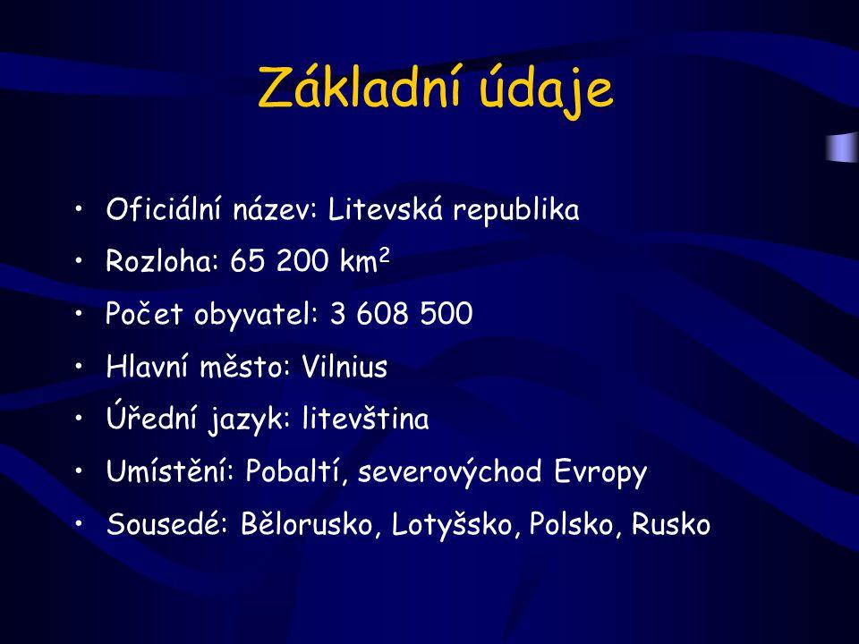 Základní údaje Oficiální název: Litevská republika Rozloha: 65 200 km 2 Počet obyvatel: 3 608 500 Hlavní město: Vilnius Úřední jazyk: litevština Umístění: Pobaltí, severovýchod Evropy Sousedé: Bělorusko, Lotyšsko, Polsko, Rusko