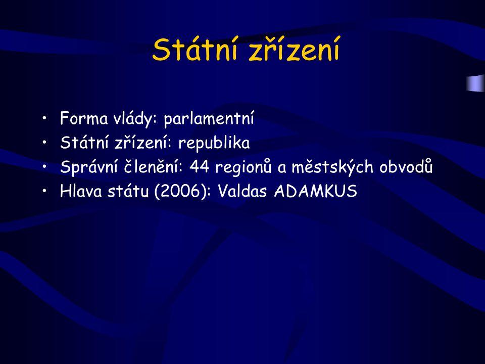 Státní zřízení Forma vlády: parlamentní Státní zřízení: republika Správní členění: 44 regionů a městských obvodů Hlava státu (2006): Valdas ADAMKUS