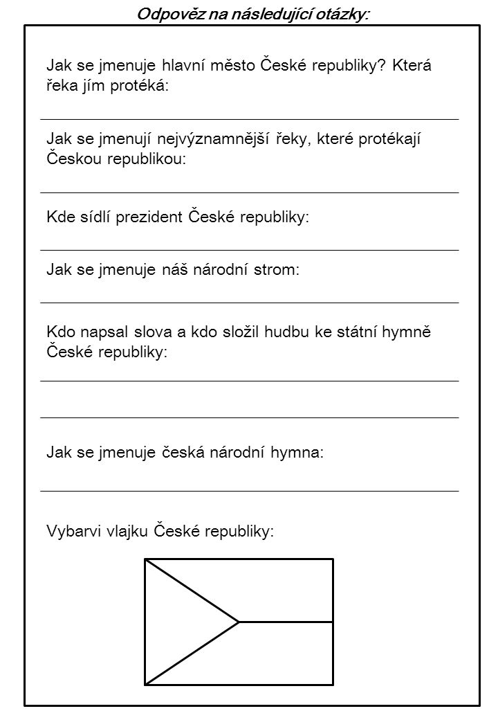 Odpověz na následující otázky: Jak se jmenuje hlavní město České republiky? Která řeka jím protéká: Jak se jmenují nejvýznamnější řeky, které protékaj