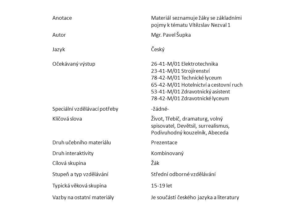 AnotaceMateriál seznamuje žáky se základními pojmy k tématu Vítězslav Nezval 1 AutorMgr. Pavel Šupka JazykČeský Očekávaný výstup26-41-M/01 Elektrotech