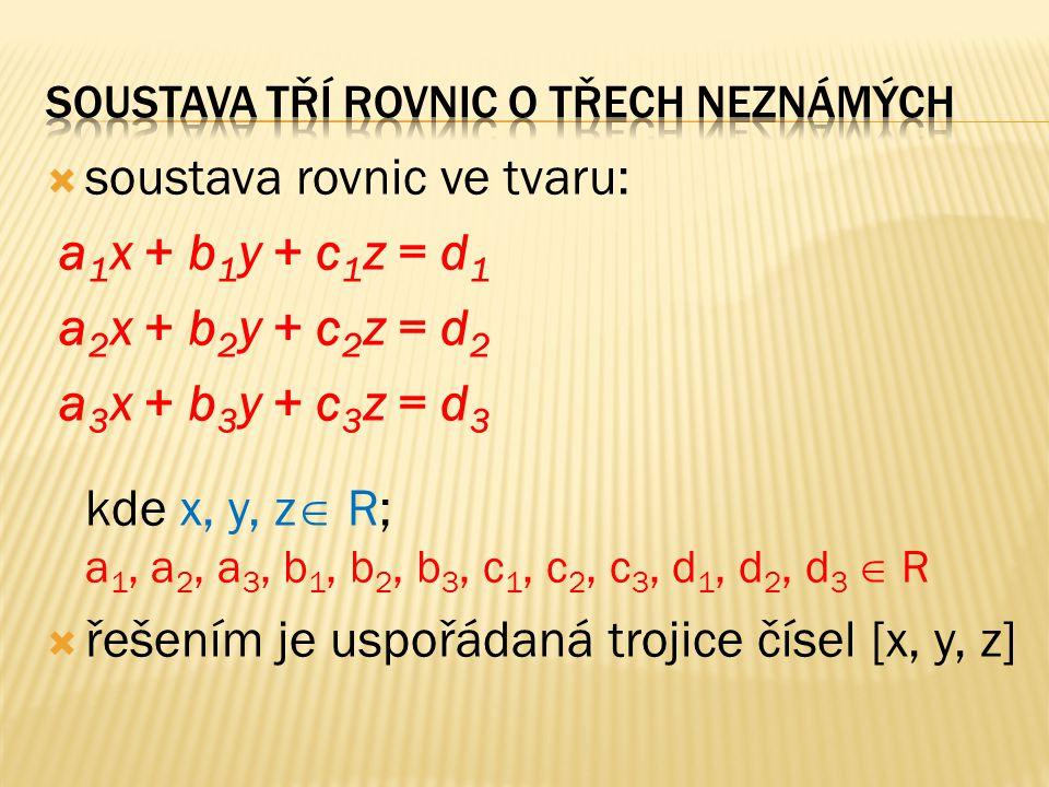  soustava rovnic ve tvaru: a 1 x + b 1 y + c 1 z = d 1 a 2 x + b 2 y + c 2 z = d 2 a 3 x + b 3 y + c 3 z = d 3 kde x, y, z  R; a 1, a 2, a 3, b 1, b