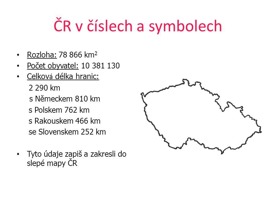 ČR v číslech a symbolech Rozloha: 78 866 km 2 Počet obyvatel: 10 381 130 Celkov á délka hranic: 2 290 km s Německem 810 km s Polskem 762 km s Rakouske