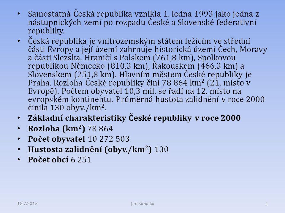 Samostatná Česká republika vznikla 1. ledna 1993 jako jedna z nástupnických zemí po rozpadu České a Slovenské federativní republiky. Česká republika j