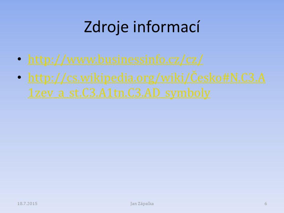 Zdroje informací http://www.businessinfo.cz/cz/ http://cs.wikipedia.org/wiki/Česko#N.C3.A 1zev_a_st.C3.A1tn.C3.AD_symboly http://cs.wikipedia.org/wiki