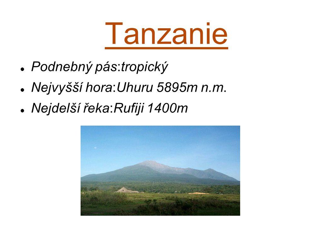 Tanzanie Podnebný pás:tropický Nejvyšší hora:Uhuru 5895m n.m. Nejdelší řeka:Rufiji 1400m