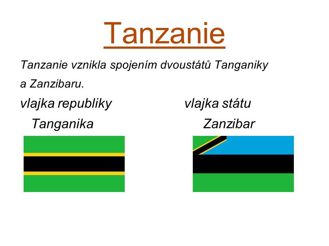 Tanzanie Tanzanie vznikla spojením dvoustátů Tanganiky a Zanzibaru. vlajka republiky vlajka státu Tanganika Zanzibar