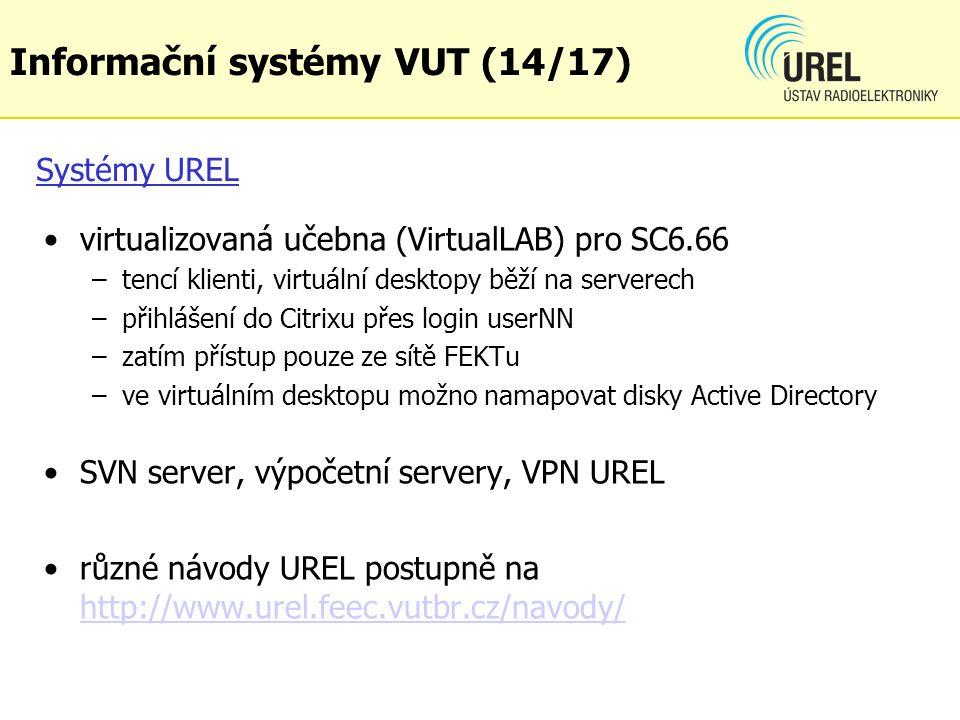 Systémy UREL virtualizovaná učebna (VirtualLAB) pro SC6.66 –tencí klienti, virtuální desktopy běží na serverech –přihlášení do Citrixu přes login user