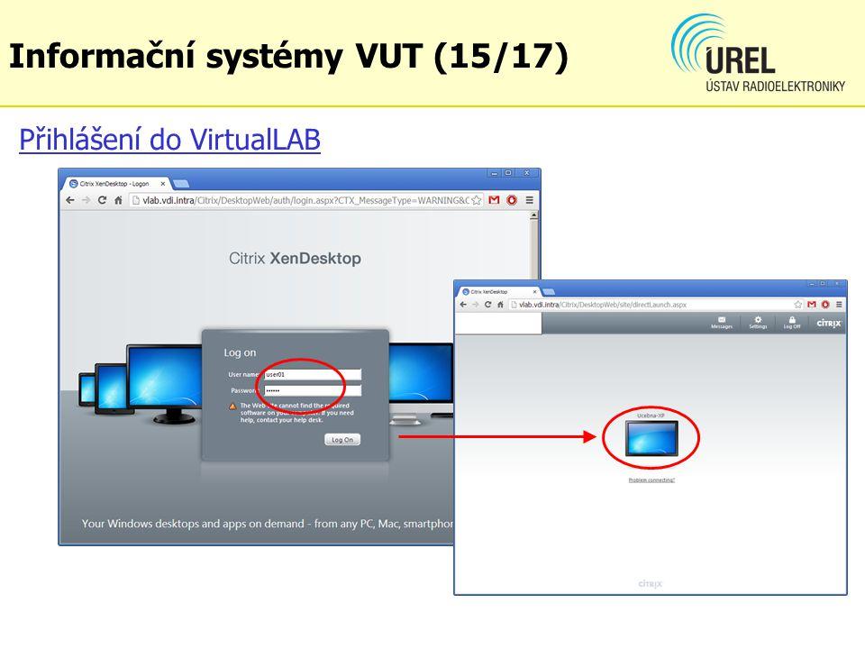Přihlášení do VirtualLAB Informační systémy VUT (15/17)