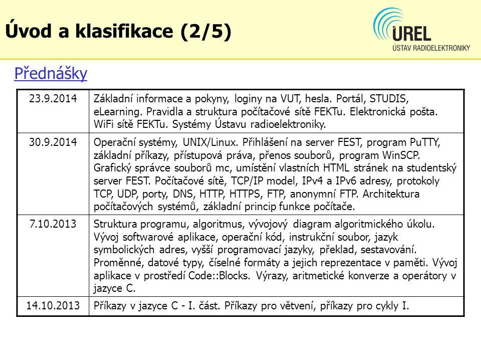 Přednášky 23.9.2014Základní informace a pokyny, loginy na VUT, hesla.