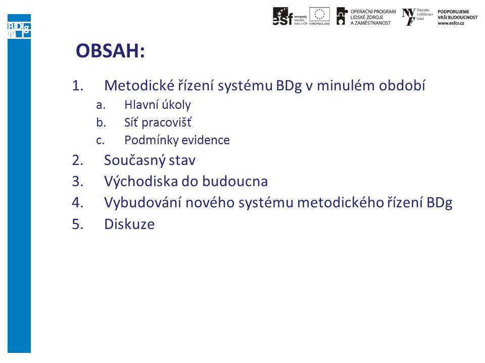 OBSAH: 1.Metodické řízení systému BDg v minulém období a.Hlavní úkoly b.Síť pracovišť c.Podmínky evidence 2.Současný stav 3.Východiska do budoucna 4.V