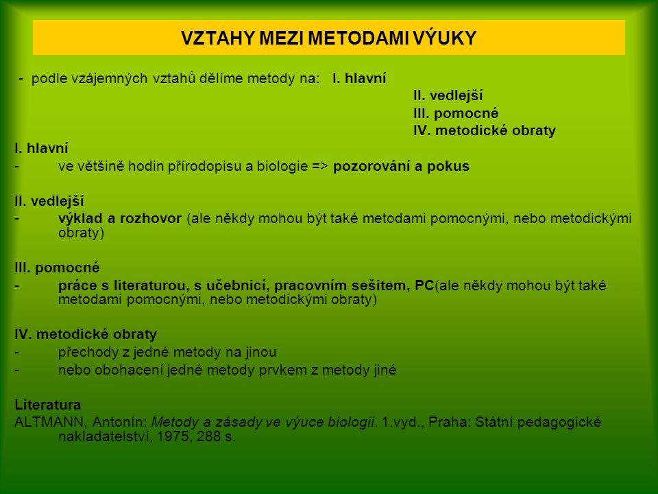 - podle vzájemných vztahů dělíme metody na: I. hlavní II. vedlejší III. pomocné IV. metodické obraty I. hlavní - ve většině hodin přírodopisu a biolog