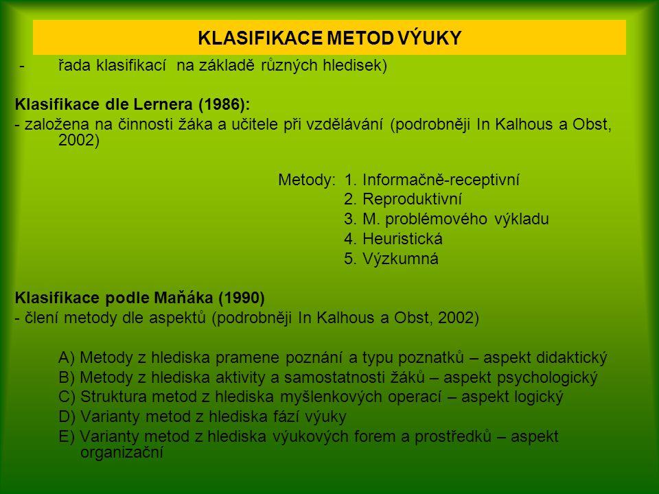 Klasifikace podle Skalkové (2007): 1.Metody slovní (monologické, dialogické, práce s učebnicí, knihou, textovým materiálem) 2.Metody názorně demonstrační (pozorování, demonstrace, projekce) 3.Metody praktických činností (laboratorní práce, praktické činnosti, didaktické montážní a demontážní práce) 4.Hra