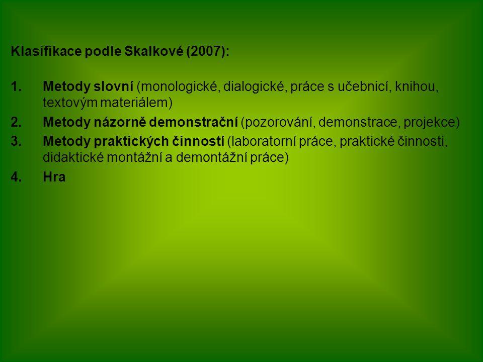 Klasifikace podle Skalkové (2007): 1.Metody slovní (monologické, dialogické, práce s učebnicí, knihou, textovým materiálem) 2.Metody názorně demonstra