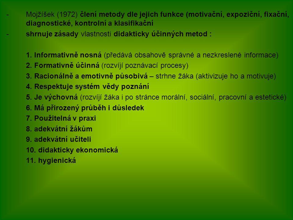 -Mojžíšek (1972) člení metody dle jejich funkce (motivační, expoziční, fixační, diagnostické, kontrolní a klasifikační -shrnuje zásady vlastnosti dida