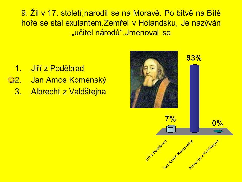 """9. Žil v 17. století,narodil se na Moravě. Po bitvě na Bílé hoře se stal exulantem.Zemřel v Holandsku, Je nazýván """"učitel národů"""".Jmenoval se 1.Jiří z"""