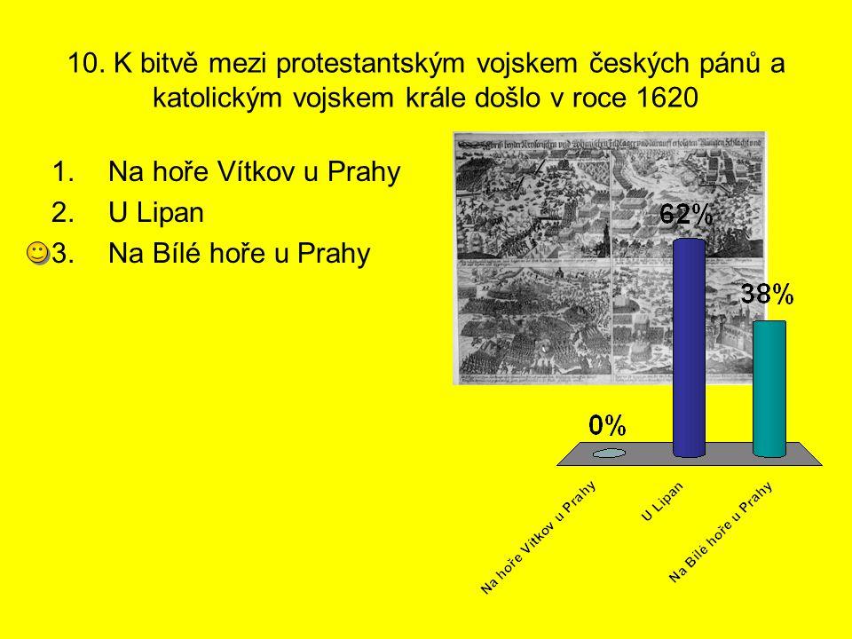 10. K bitvě mezi protestantským vojskem českých pánů a katolickým vojskem krále došlo v roce 1620 1.Na hoře Vítkov u Prahy 2.U Lipan 3.Na Bílé hoře u