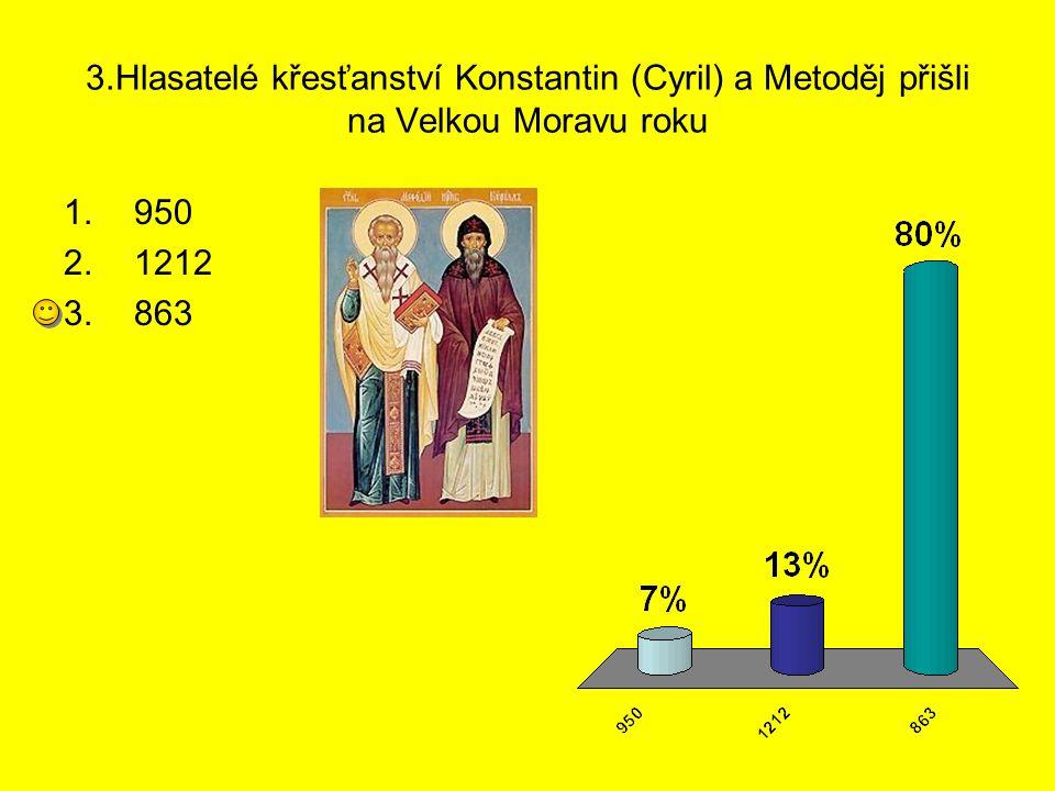 3.Hlasatelé křesťanství Konstantin (Cyril) a Metoděj přišli na Velkou Moravu roku 1.950 2.1212 3.863