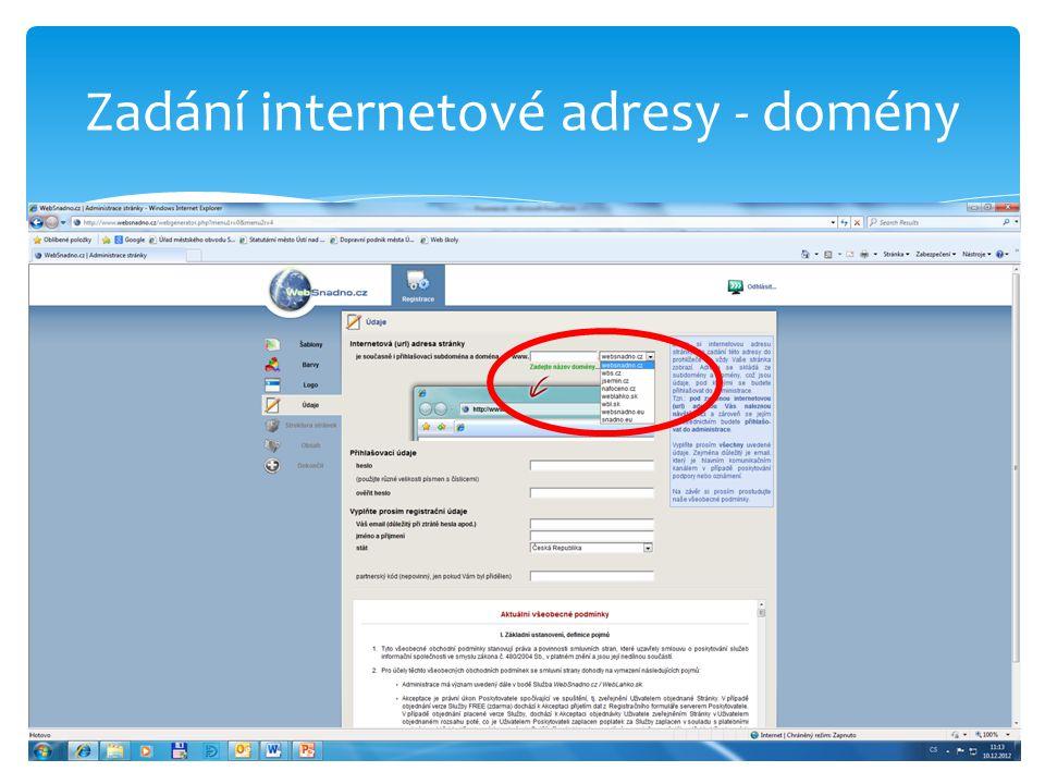 Zadání internetové adresy - domény