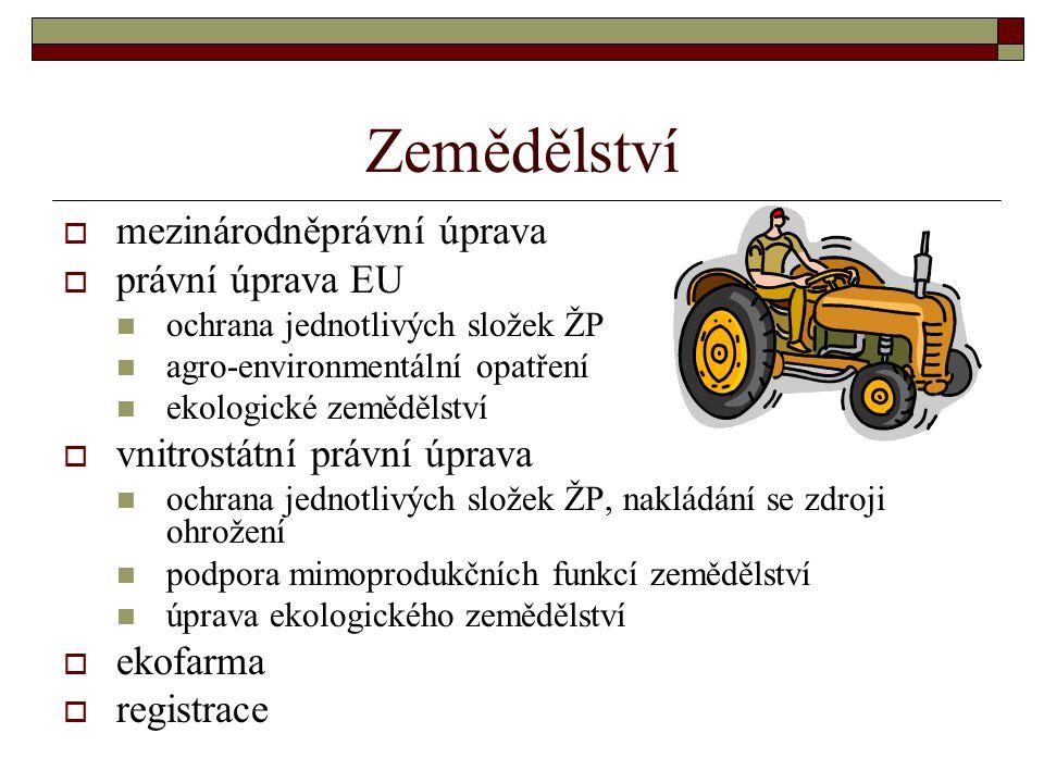 Zemědělství  mezinárodněprávní úprava  právní úprava EU ochrana jednotlivých složek ŽP agro-environmentální opatření ekologické zemědělství  vnitro