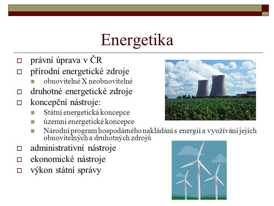 Energetika  právní úprava v ČR  přírodní energetické zdroje obnovitelné X neobnovitelné  druhotné energetické zdroje  koncepční nástroje: Státní e