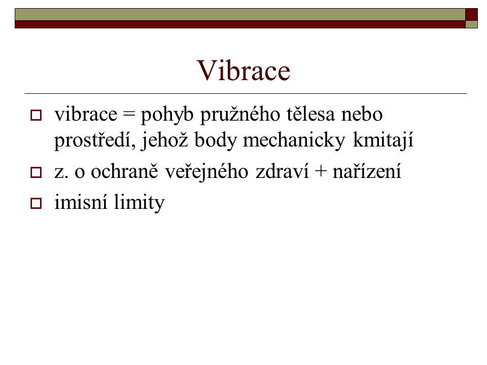 Vibrace  vibrace = pohyb pružného tělesa nebo prostředí, jehož body mechanicky kmitají  z. o ochraně veřejného zdraví + nařízení  imisní limity