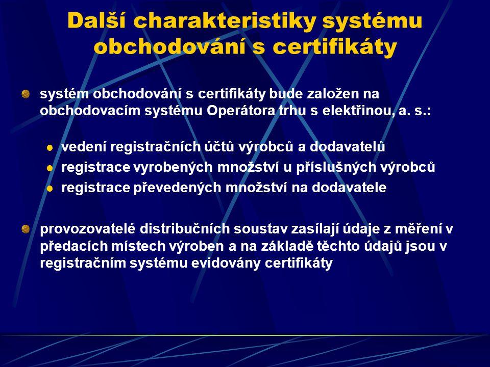 Další charakteristiky systému obchodování s certifikáty systém obchodování s certifikáty bude založen na obchodovacím systému Operátora trhu s elektřinou, a.