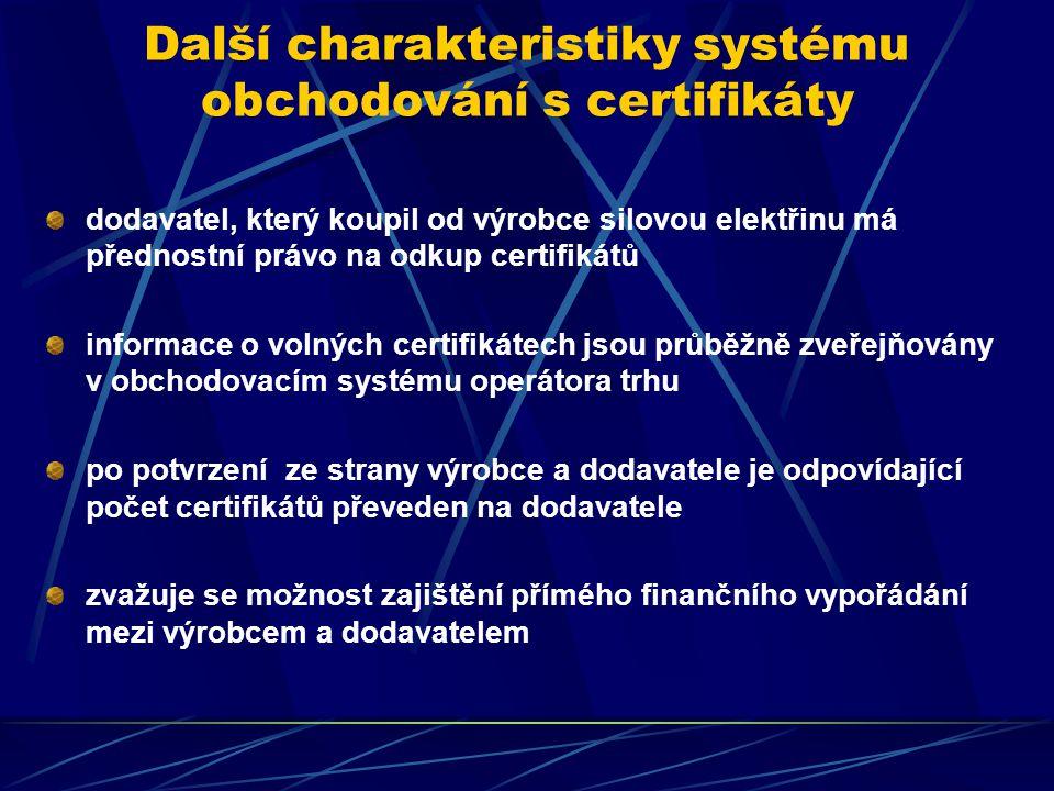 Další charakteristiky systému obchodování s certifikáty dodavatel, který koupil od výrobce silovou elektřinu má přednostní právo na odkup certifikátů informace o volných certifikátech jsou průběžně zveřejňovány v obchodovacím systému operátora trhu po potvrzení ze strany výrobce a dodavatele je odpovídající počet certifikátů převeden na dodavatele zvažuje se možnost zajištění přímého finančního vypořádání mezi výrobcem a dodavatelem