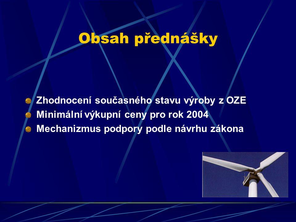 Obsah přednášky Zhodnocení současného stavu výroby z OZE Minimální výkupní ceny pro rok 2004 Mechanizmus podpory podle návrhu zákona