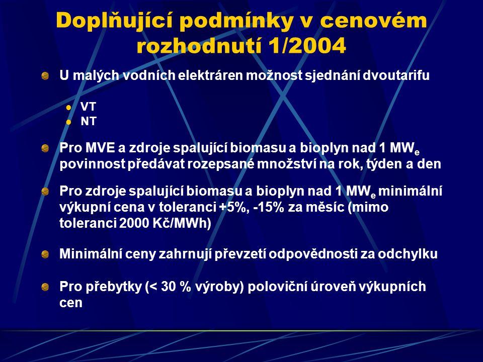 Doplňující podmínky v cenovém rozhodnutí 1/2004 U malých vodních elektráren možnost sjednání dvoutarifu VT NT Pro MVE a zdroje spalující biomasu a bioplyn nad 1 MW e povinnost předávat rozepsané množství na rok, týden a den Pro zdroje spalující biomasu a bioplyn nad 1 MW e minimální výkupní cena v toleranci +5%, -15% za měsíc (mimo toleranci 2000 Kč/MWh) Minimální ceny zahrnují převzetí odpovědnosti za odchylku Pro přebytky (< 30 % výroby) poloviční úroveň výkupních cen
