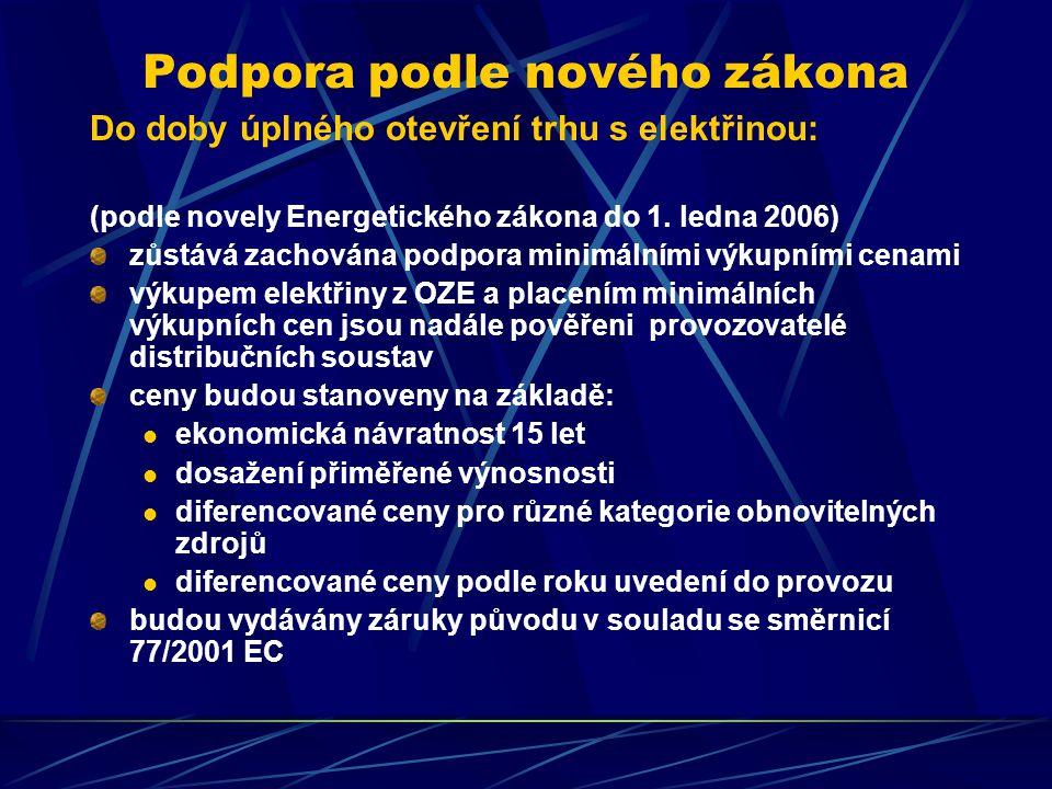 Podpora podle nového zákona Do doby úplného otevření trhu s elektřinou: (podle novely Energetického zákona do 1.