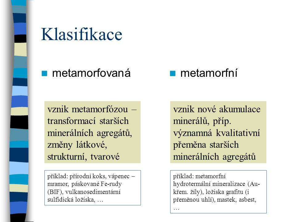 Klasifikace metamorfovaná metamorfní vznik metamorfózou – transformací starších minerálních agregátů, změny látkové, strukturní, tvarové vznik nové akumulace minerálů, příp.