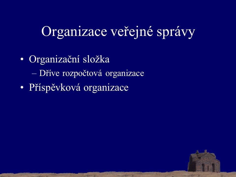 Organizace veřejné správy Organizační složka –Dříve rozpočtová organizace Příspěvková organizace