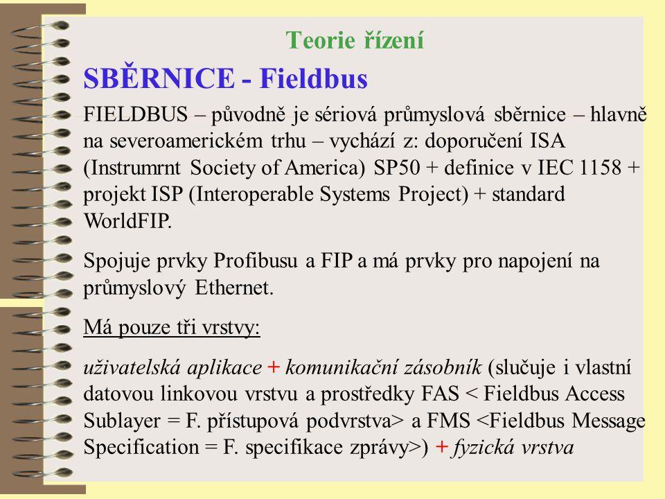 Teorie řízení SBĚRNICE - Fieldbus FIELDBUS – původně je sériová průmyslová sběrnice – hlavně na severoamerickém trhu – vychází z: doporučení ISA (Instrumrnt Society of America) SP50 + definice v IEC 1158 + projekt ISP (Interoperable Systems Project) + standard WorldFIP.
