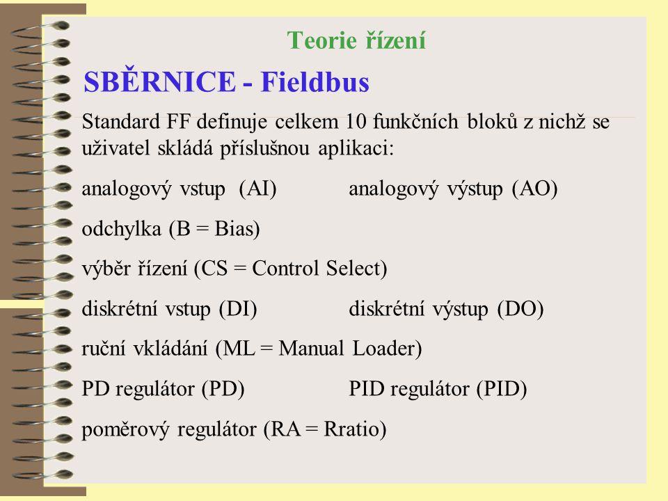 Teorie řízení SBĚRNICE - Fieldbus Standard FF definuje celkem 10 funkčních bloků z nichž se uživatel skládá příslušnou aplikaci: analogový vstup (AI) analogový výstup (AO) odchylka (B = Bias) výběr řízení (CS = Control Select) diskrétní vstup (DI)diskrétní výstup (DO) ruční vkládání (ML = Manual Loader) PD regulátor (PD)PID regulátor (PID) poměrový regulátor (RA = Rratio)