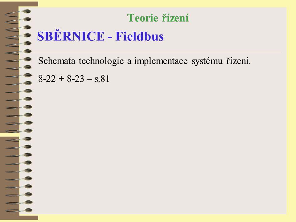 Teorie řízení SBĚRNICE - Fieldbus Schemata technologie a implementace systému řízení.