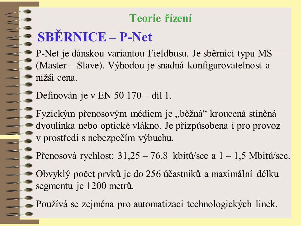 Teorie řízení SBĚRNICE – P-Net P-Net je dánskou variantou Fieldbusu.