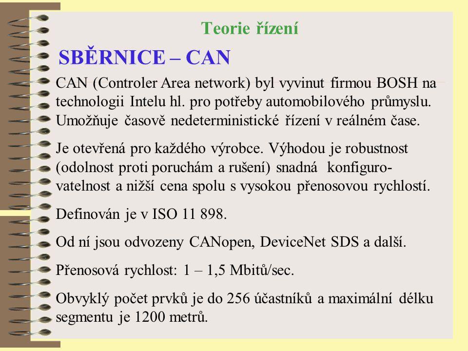 Teorie řízení SBĚRNICE – CAN CAN (Controler Area network) byl vyvinut firmou BOSH na technologii Intelu hl.
