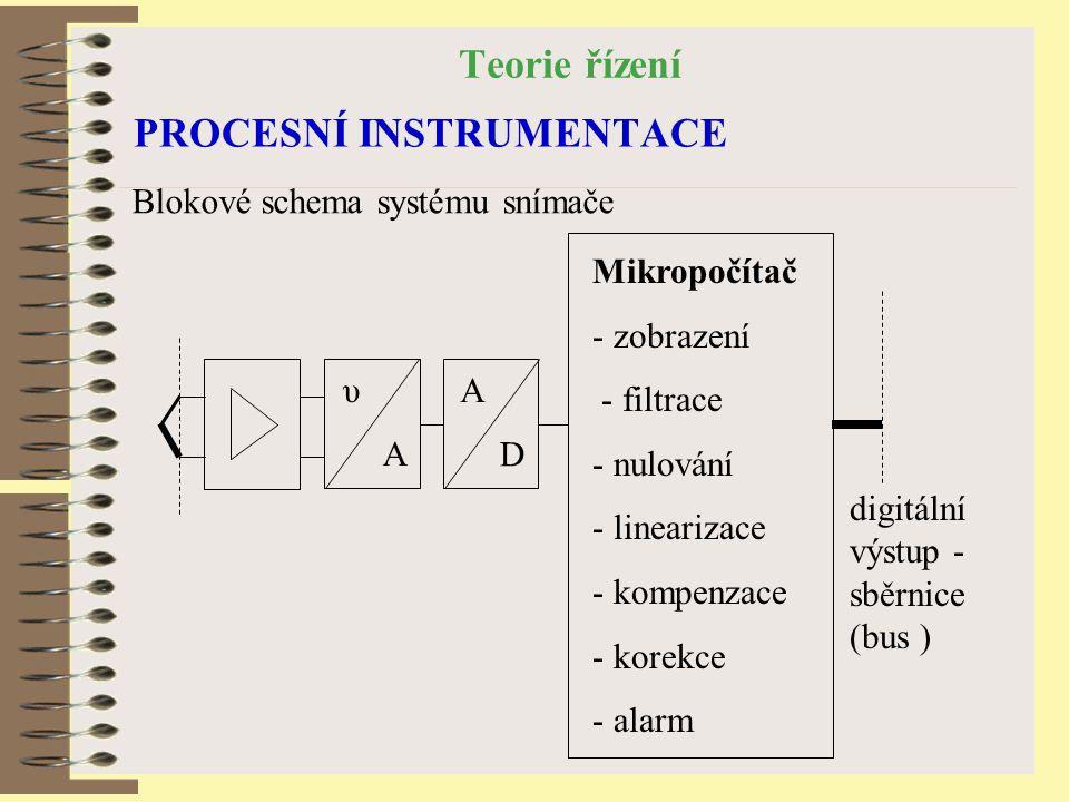 Teorie řízení PROCESNÍ INSTRUMENTACE Blokové schema systému snímače digitální výstup - sběrnice (bus ) Mikropočítač - zobrazení - filtrace - nulování - linearizace - kompenzace - korekce - alarm υ A A D