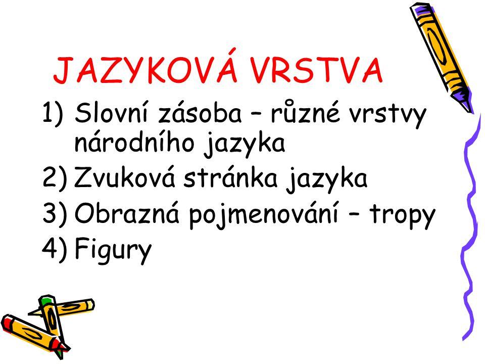 JAZYKOVÁ VRSTVA 1)Slovní zásoba – různé vrstvy národního jazyka 2)Zvuková stránka jazyka 3)Obrazná pojmenování – tropy 4)Figury