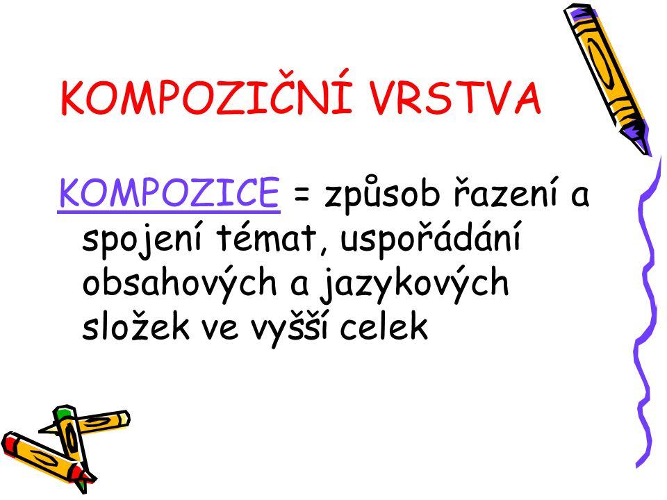 KOMPOZIČNÍ VRSTVA KOMPOZICE = způsob řazení a spojení témat, uspořádání obsahových a jazykových složek ve vyšší celek
