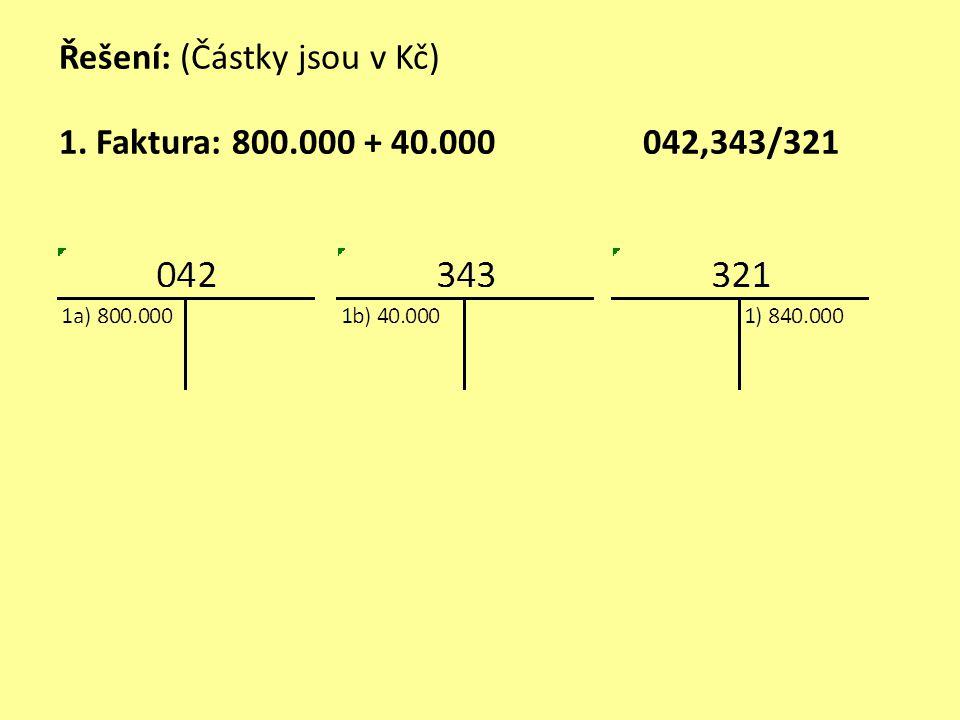Řešení: (Částky jsou v Kč) 1. Faktura: 800.000 + 40.000 042,343/321