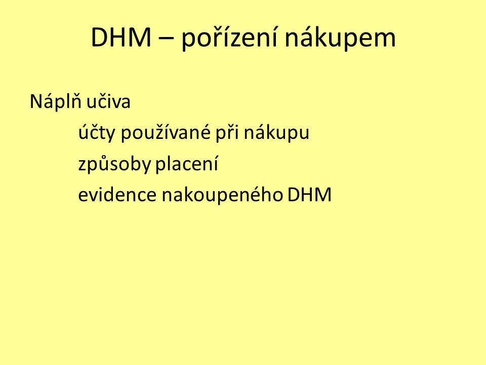 DHM – pořízení nákupem Náplň učiva účty používané při nákupu způsoby placení evidence nakoupeného DHM
