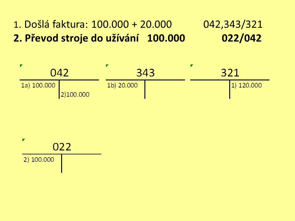 1.Faktura: 800.000 + 40.000 042,343/321 2. Doprava za hotové 20.000 + 4.000 042,343/211 3.