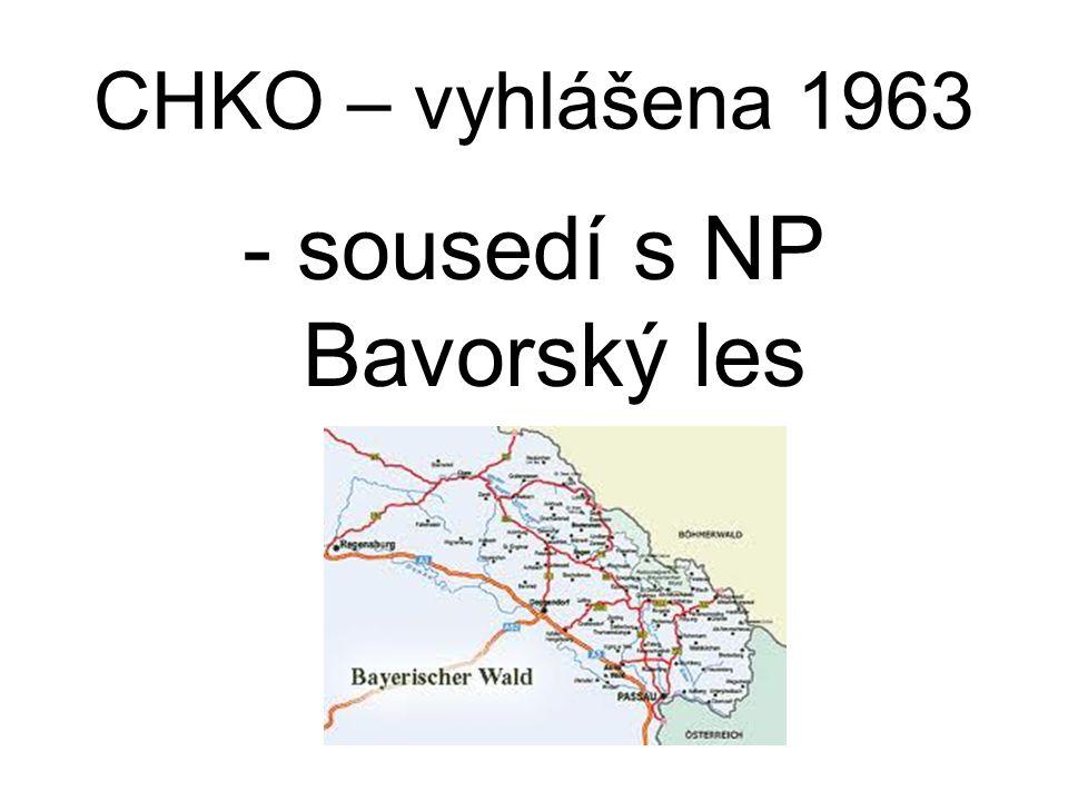 CHKO – vyhlášena 1963 - sousedí s NP Bavorský les