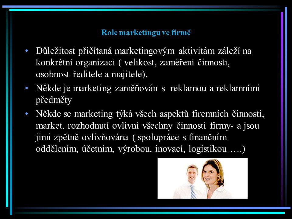 Role marketingu ve firmě Důležitost přičítaná marketingovým aktivitám záleží na konkrétní organizaci ( velikost, zaměření činnosti, osobnost ředitele